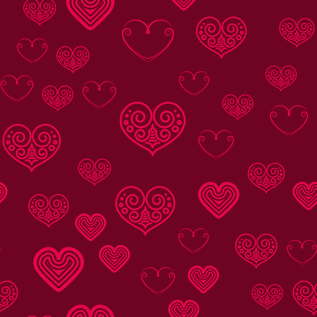 sprayed: Valentines Day seamless pattern with red hearts sprayed for background, card or wrapping paper