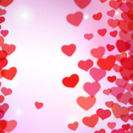 sprayed: Valentines Day background with scattered blurred hearts
