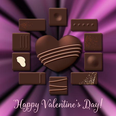 Valentines Day card with chocolate candy heart collection