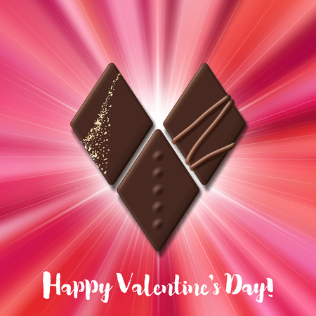 Valentines Day card with chocolate candy heart