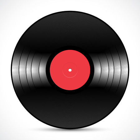 Vinyl music disc LP 12 inch for 33 rpm with red label and shiny grooves Illustration