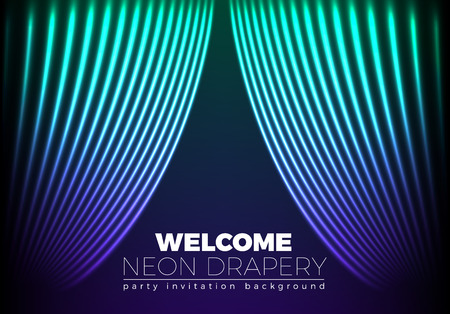 welcoming: Drapery futuristic background with 80s style neon lines. Welcoming drapes for cover or party invitation made in new retro wave trend. Illustration
