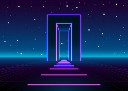 door neon: Neon 80s styled massive gate in retro game landscape with shiny road & Door Neon Stock Photos Images. Royalty Free Door Neon Images And ... Pezcame.Com