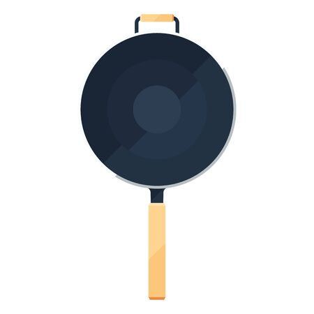 Wok frying pan sign or flat icon of traditional bowl laying for top view