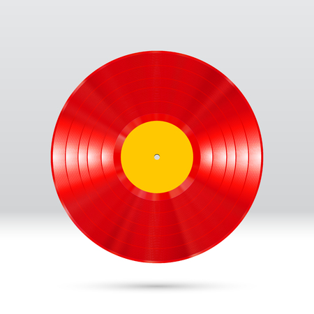 Colorful vinyl disc 12 inch LP record with shiny grooves Illustration