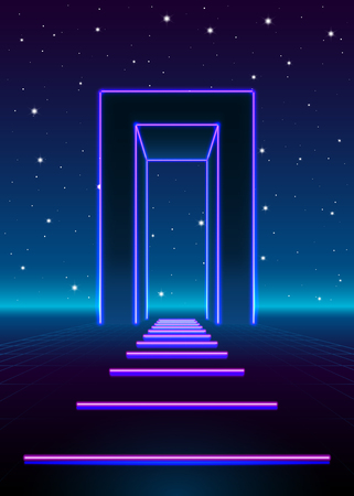 vintage wave: Neon 80s styled massive gate in retro game landscape with shiny road