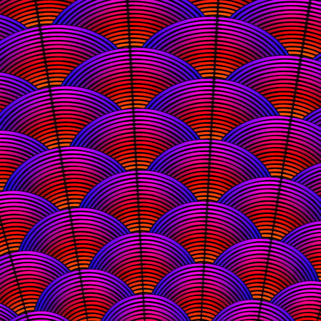 Feather styled background with curved lines styled as exotic bird plumage.