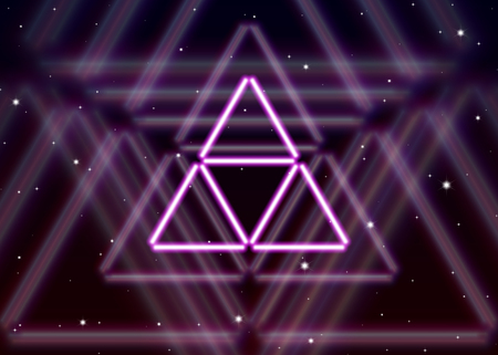 alchemical: Magic triangle symbol spreads the mystic energy in spiritual space Illustration