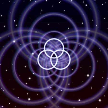 Magic crossed circles symbol spreads the mystic energy in spiritual space Illustration