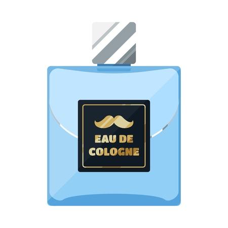 eau de toilette: Eau de cologne flat icon, rectangular perfume glass bottle
