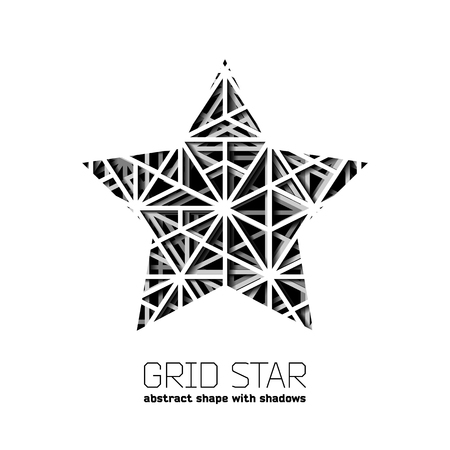 abstract shape: Abstract star shape with layered lines grid and shadow Illustration