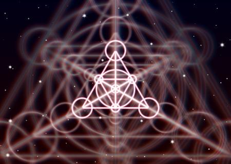 精神的な宇宙の神秘的なエネルギーに広がる魔法の三角形の記号