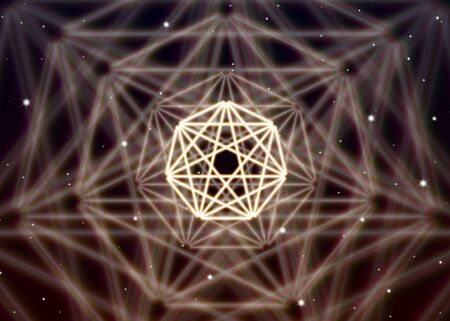 精神的な宇宙の神秘的なエネルギーに広がる魔法七角形シンボル