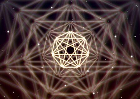 heptagon: Magic heptagon symbol spreads the mystic energy in spiritual space