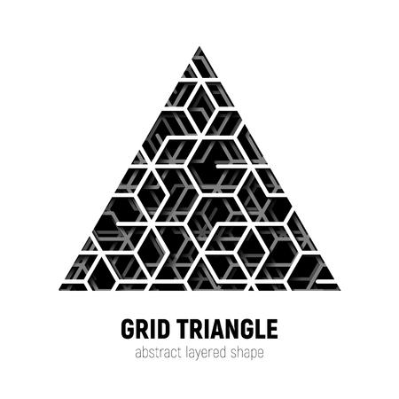 forme: Résumé forme de triangle avec la grille de lignes en couches et de l'ombre
