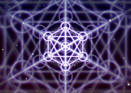 spiritual energy: Magic hexagon symbol with circles spreads the mystic energy in spiritual space Illustration