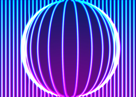 Neon lines background with glowing 80s retro vapor wave style Illustration