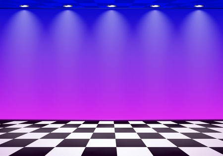 80s styled vapor wave room with blue and purple wall