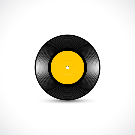 Vinyl disc 7 inch EP record with shiny grooves
