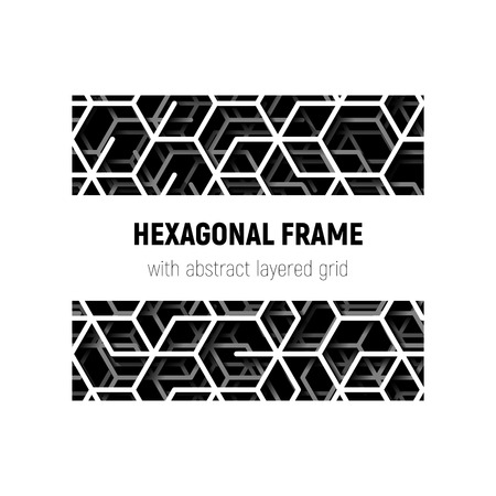 Abstract square frame with layered lines grid and shadow