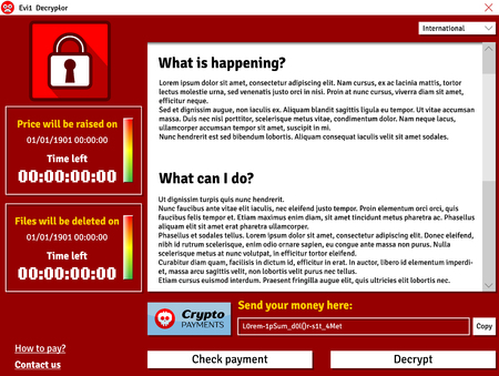 Cryptolocker virus interface window showing infected data timer