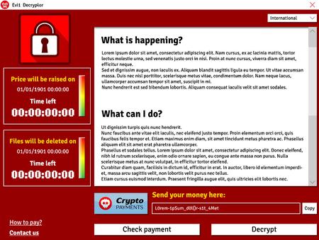 Okno interfejsu wirusa Cryptolockera wykazujące zainfekowanego licznika danych Ilustracje wektorowe