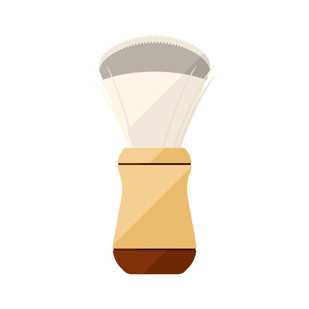 male grooming: Shaving brush flat icon with white handle Illustration