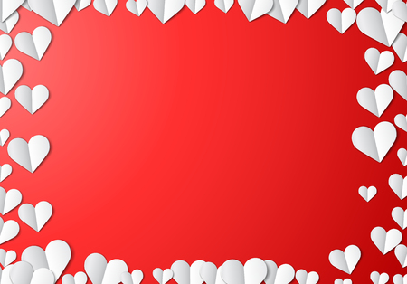 happy couple: Valentines Day card with scattered cut paper hearts
