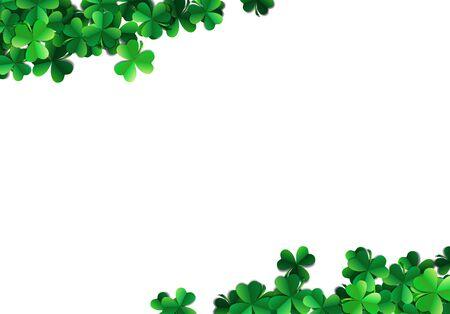 patrick: Saint Patricks day background with sprayed clover leaves or shamrocks Illustration