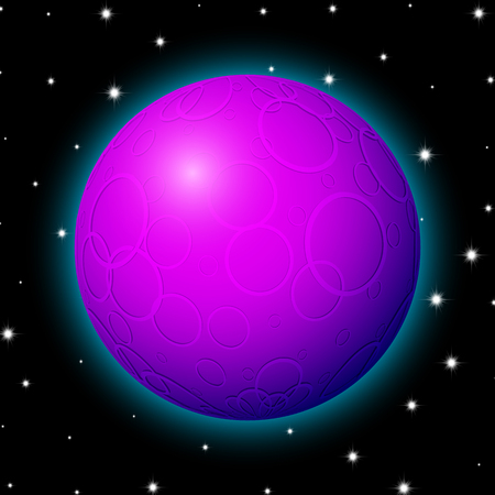 Planet in space with stars, shiny cartoon style.