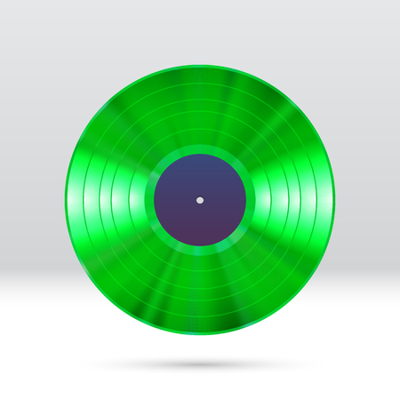 Colorful vinyl disc 12 inch LP record with shiny grooves. Illustration