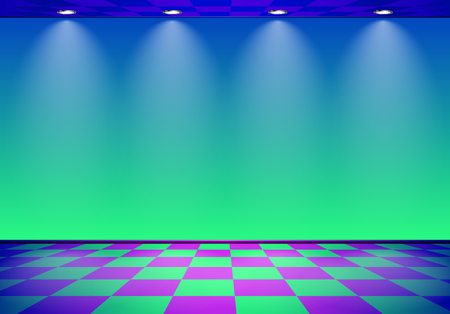 80s styled vapor wave room with blue and green wall.