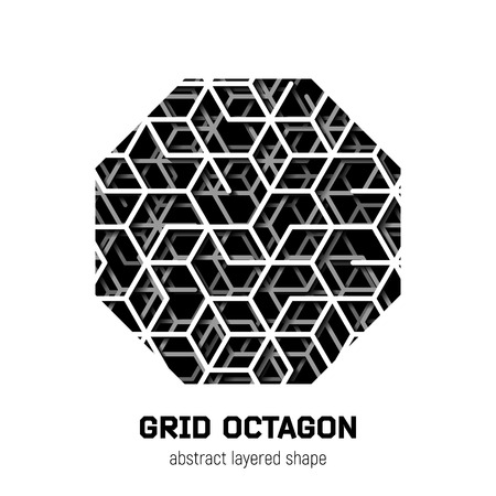 octagon: Abstract octagon shape with layered lines grid and shadow