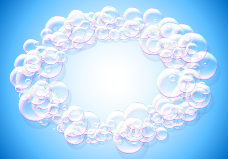 Zeepbellen blauwe achtergrond met regenboog gekleurde luchtige schuim ronde frame Stock Illustratie