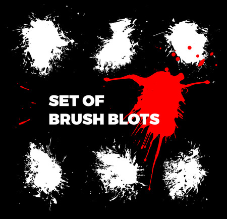 inkblot: Ink blots and brush strokes collection isolated Illustration