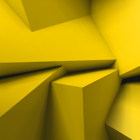 Abstract geometric background with realistic overlapping yellow cubes. Illustration