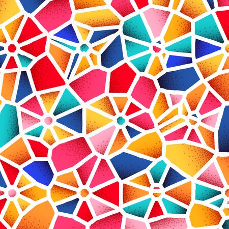 Abstract background with vibrant colors and retro styled vintage dotwork gradients on voronoi grid