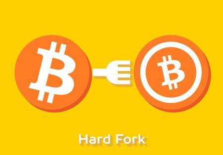 bitcoin dur chaîne divisée à crypto-monnaie cnc monnaie 5s Vecteurs