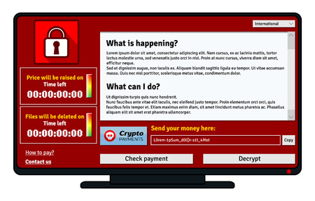 security monitor: Cryptolocker infection window on computer monitor want payment for decryption