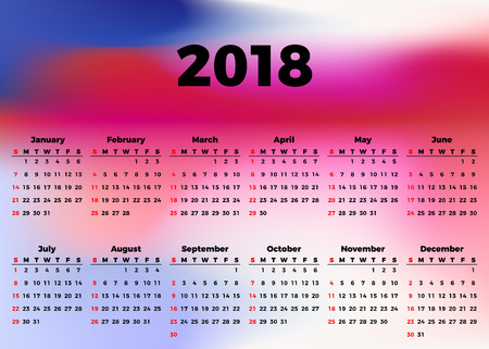 Calendar 2018 horizontal A4 format starts Sunday.