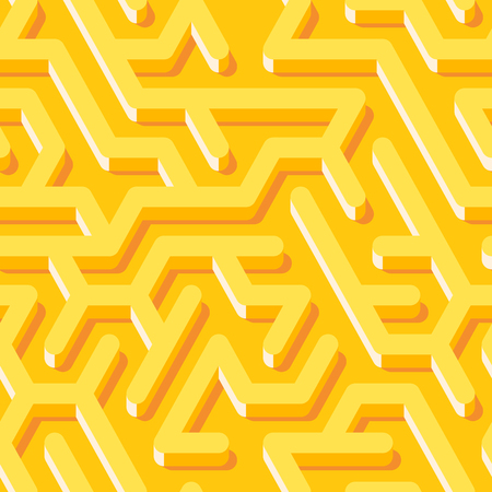 Maze pattern with yellow endless tiled labyrinth for fabric or wallpaper. Illustration