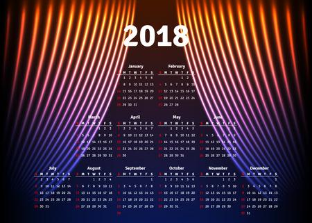 event planner: Calendar 2018 horizontal A4 format starts Sunday