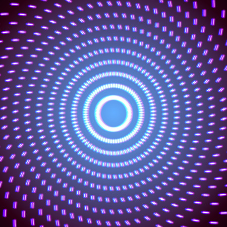Bright neon lines background with 80s style and short strokes circle