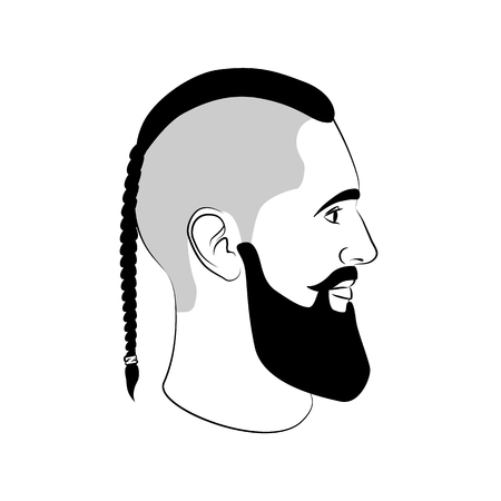 Viking haircut fashion man sign with braid and beard