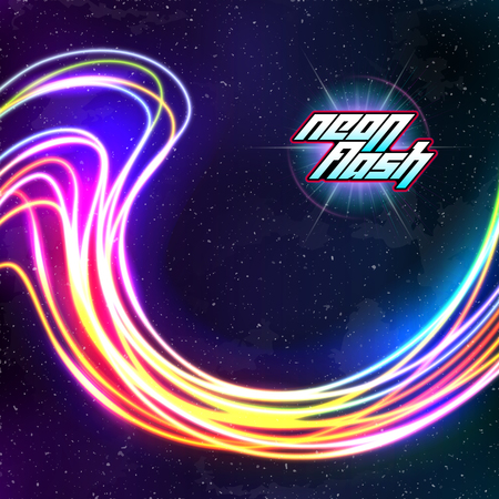 Neon lines New Retro Wave background with 80s dusty vhs style