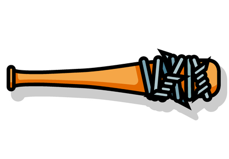 Baseball bat with barbed wire custom violent weapon icon Illustration