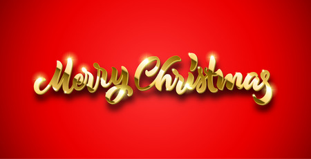 Merry Christmas golden calligraphic hand drawn lettering with volume and shadow for New Year Eve. May be used in winter holidays Christmas party invitations, posters and Xmas greeting cards.