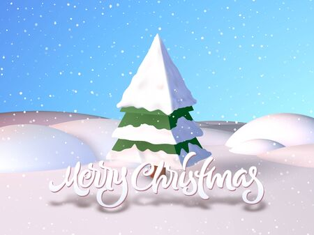 snowy hill: Christmas card with calligraphic greetings lettering in the snowy field Illustration