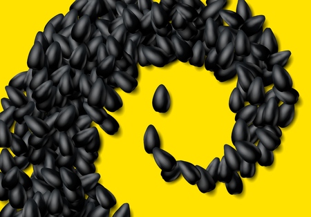 Sunflower seeds background with heap of scattered black grains