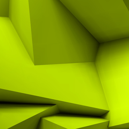 Abstract geometric with realistic overlapping acid green cubes. Illustration